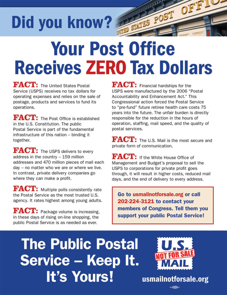US Mail Not for Sale Campaign Facts