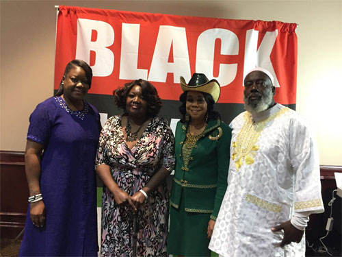 "Sabrina Fulton (Trayvon Martin Foundation) , Sardebra Wright (Vice President Miami APWU Retirees) , Congresswoman Fredericka Wilson, and Eddie Caldwell (President APWU Miami Area Local Chapter 172) at the ""Black Lives Matter"" Black History Extravaganza sponsored by the APWU."